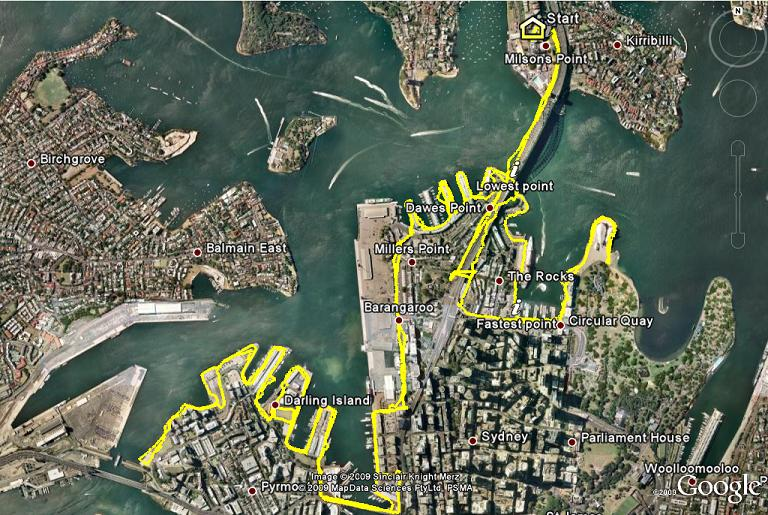 RollerbladingSydney.com route displayed on Goggle Earth